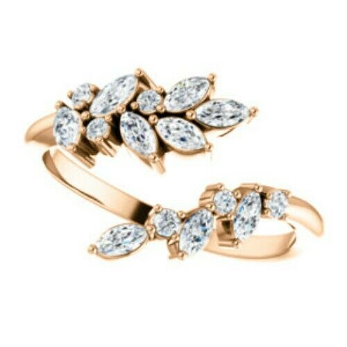 14KT Rose Gold Marquise Diamond Leaf Bypass Ring, 14KT Rose Gold Marquise Diamond Leaf Bypass Ring - Legacy Saint Jewelry