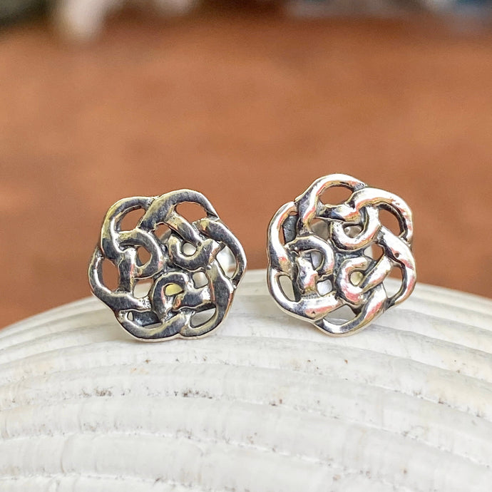 Sterling Silver Mini Celtic Weave Knot Post Stud Earrings