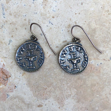 Load image into Gallery viewer, Sterling Silver Arab Coin Dangle Wire Earrings, Sterling Silver Arab Coin Dangle Wire Earrings - Legacy Saint Jewelry