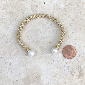 Estate 14KT Yellow Gold Basketweave Pearls Cuff Bangle Bracelet, Estate 14KT Yellow Gold Basketweave Pearls Cuff Bangle Bracelet - Legacy Saint Jewelry