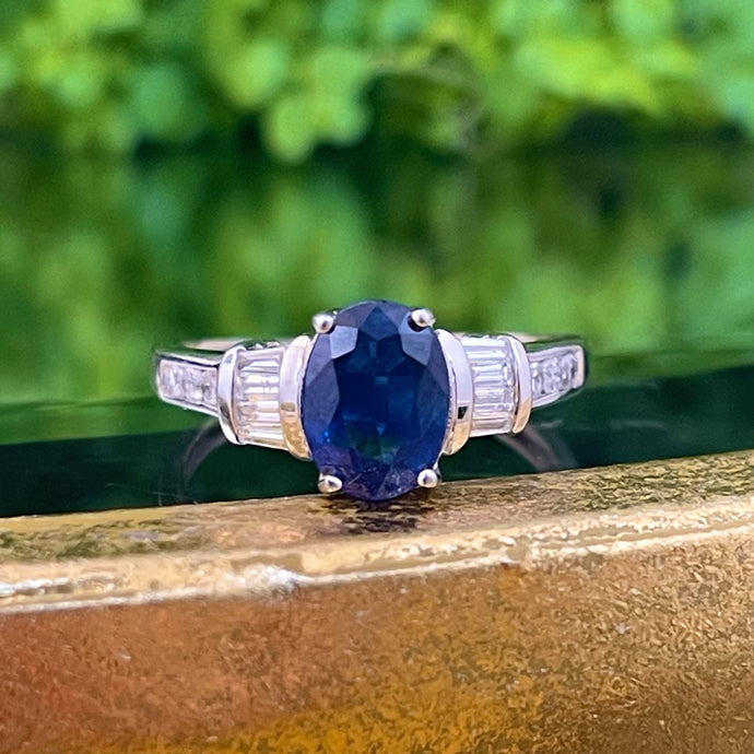 Estate 14KT White Gold Oval 1.75 CT Blue Sapphire + Diamond Accent Ring