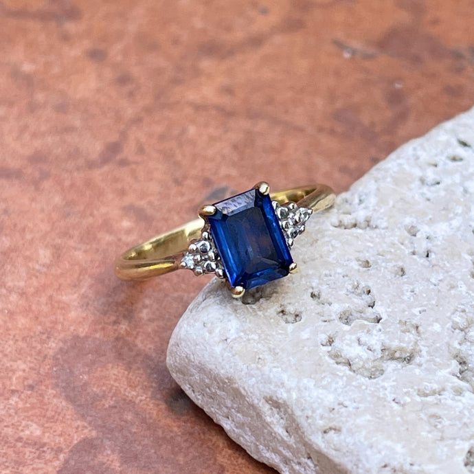 Estate 10KT Yellow Gold Emerald-Cut Blue Sapphire + Diamond Accent Ring