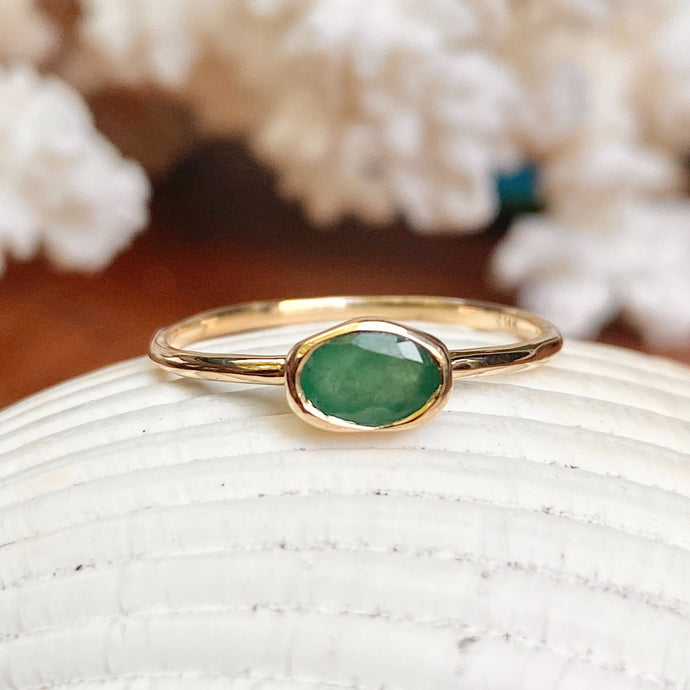 14KT Yellow Gold Oval Bezel Set .55 CT Emerald Ring