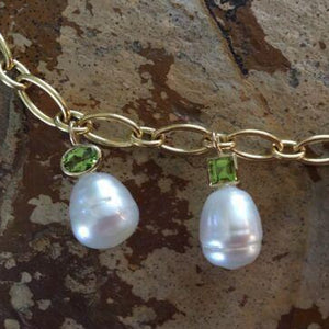 14KT Yellow Gold Peridot + Paspaley South Sea Pearl Charm Bracelet, 14KT Yellow Gold Peridot + Paspaley South Sea Pearl Charm Bracelet - Legacy Saint Jewelry