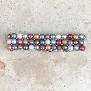 Sterling Silver Multi-Colored Freshwater Pearl Triple Strand Bracelet, Sterling Silver Multi-Colored Freshwater Pearl Triple Strand Bracelet - Legacy Saint Jewelry