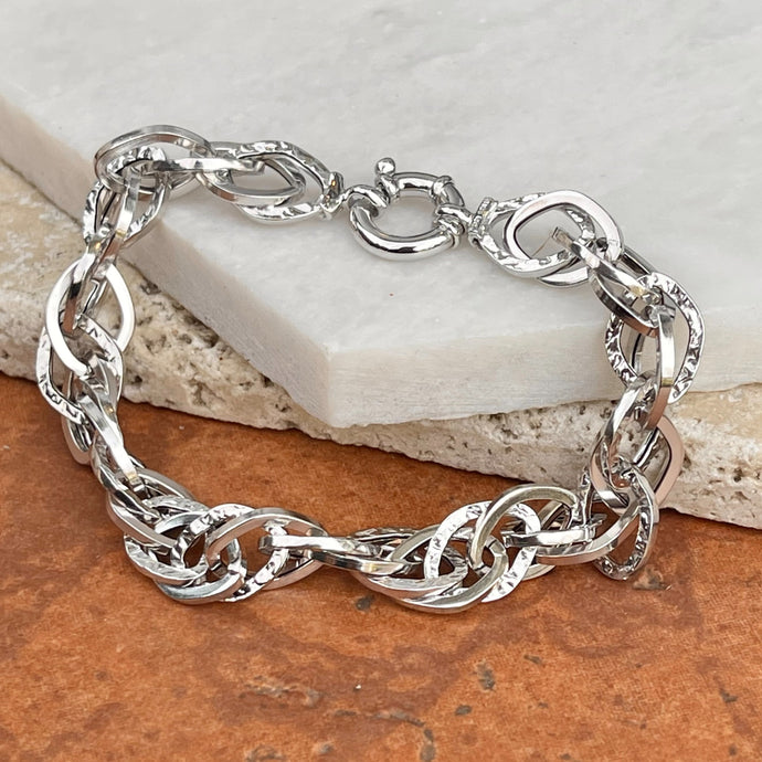 14KT White Gold Textured Twisted Open Circle Links Chain Toggle Bracelet