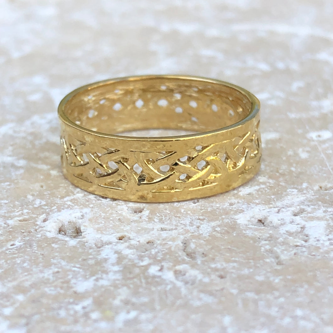 14KT Yellow Gold Celtic Weave Band Ring Size 7.25, 14KT Yellow Gold Celtic Weave Band Ring Size 7.25 - Legacy Saint Jewelry