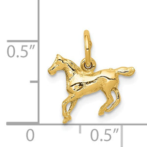 14KT Yellow Gold Running Horse Pendant Charm, 14KT Yellow Gold Running Horse Pendant Charm - Legacy Saint Jewelry