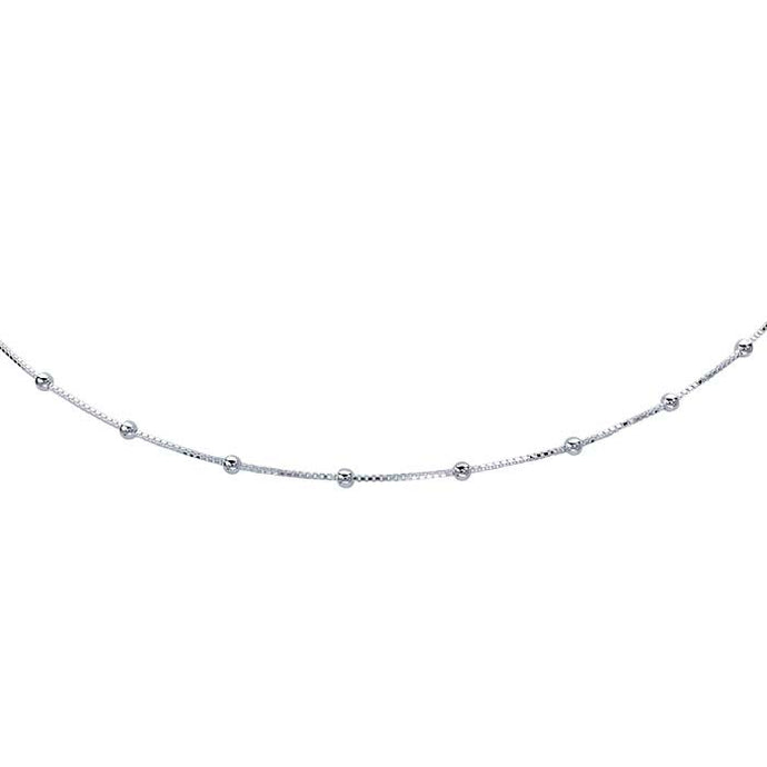 Sterling Silver Tin-Cup Box Chain Choker Necklace, Sterling Silver Tin-Cup Box Chain Choker Necklace - Legacy Saint Jewelry