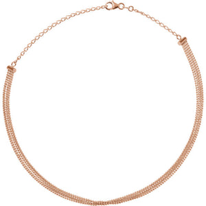14KT Rose Gold 5-Strand Bead Chain Choker Necklace, 14KT Rose Gold 5-Strand Bead Chain Choker Necklace - Legacy Saint Jewelry