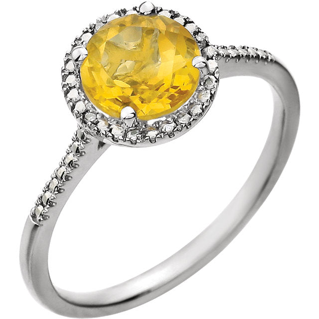 Sterling Silver Citrine + Diamond Halo Ring, Sterling Silver Citrine + Diamond Halo Ring - Legacy Saint Jewelry