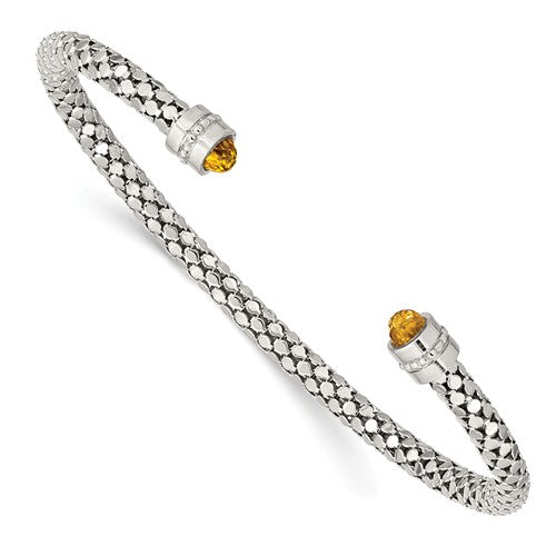 Sterling Silver Weave Citrine Open Cuff Bangle Bracelet, Sterling Silver Weave Citrine Open Cuff Bangle Bracelet - Legacy Saint Jewelry