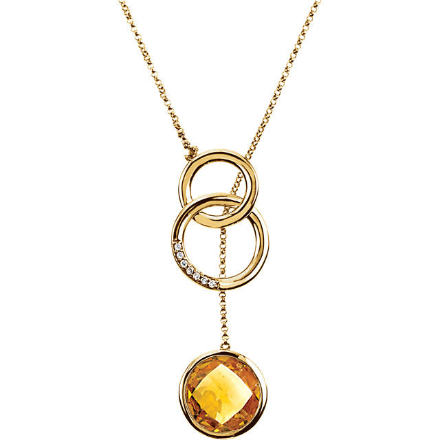 14KT Yellow Gold Checkerboard Citrine + Diamond Necklace, 14KT Yellow Gold Checkerboard Citrine + Diamond Necklace - Legacy Saint Jewelry