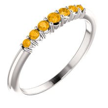 Load image into Gallery viewer, 14KT White Gold Citrine Thin Band Ring, 14KT White Gold Citrine Thin Band Ring - Legacy Saint Jewelry