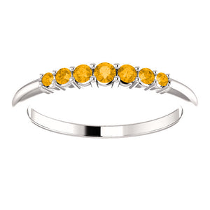 14KT White Gold Citrine Thin Band Ring, 14KT White Gold Citrine Thin Band Ring - Legacy Saint Jewelry