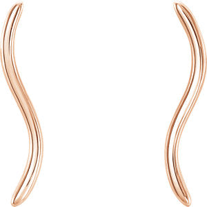 14KT Rose Gold Wavy Ear Climber Earrings, 14KT Rose Gold Wavy Ear Climber Earrings - Legacy Saint Jewelry