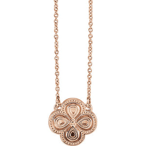 14KT Rose Gold Detailed Clover Necklace, 14KT Rose Gold Detailed Clover Necklace - Legacy Saint Jewelry