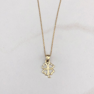 10KT Yellow Gold Mini Cut-Out 4 Leaf Clover Pendant Charm, 10KT Yellow Gold Mini Cut-Out 4 Leaf Clover Pendant Charm - Legacy Saint Jewelry