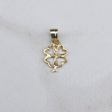 Load image into Gallery viewer, 10KT Yellow Gold Mini Cut-Out 4 Leaf Clover Pendant Charm, 10KT Yellow Gold Mini Cut-Out 4 Leaf Clover Pendant Charm - Legacy Saint Jewelry