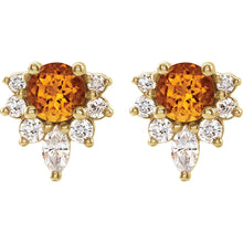 Load image into Gallery viewer, 14KT Yellow Gold Citrine + Diamond Stud Earrings, 14KT Yellow Gold Citrine + Diamond Stud Earrings - Legacy Saint Jewelry