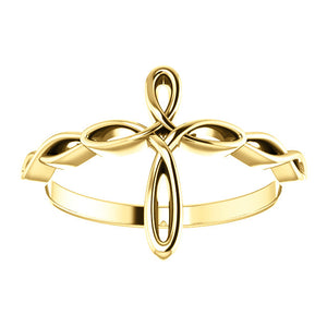 14KT Yellow Gold Loop Cross Ring, 14KT Yellow Gold Loop Cross Ring - Legacy Saint Jewelry