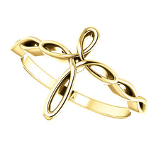 Load image into Gallery viewer, 14KT Yellow Gold Loop Cross Ring, 14KT Yellow Gold Loop Cross Ring - Legacy Saint Jewelry