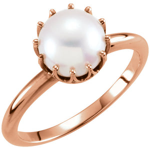 14KT Rose Gold White Freshwater Pearl Crown Ring, 14KT Rose Gold White Freshwater Pearl Crown Ring - Legacy Saint Jewelry