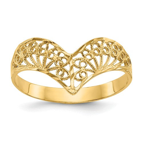 14KT Yellow Gold Diamond-Cut Filigree Ring, 14KT Yellow Gold Diamond-Cut Filigree Ring - Legacy Saint Jewelry