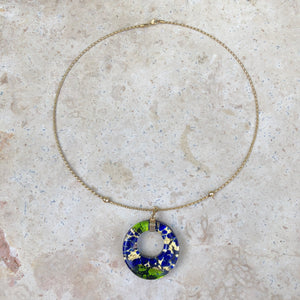 10KT Yellow Gold Murano Multi-Tone Glass Circle Cable Wire Necklace, 10KT Yellow Gold Murano Multi-Tone Glass Circle Cable Wire Necklace - Legacy Saint Jewelry