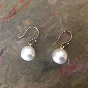 14KT Yellow Gold Paspaley Pearl Shepard Hook Earrings 12mm, 14KT Yellow Gold Paspaley Pearl Shepard Hook Earrings 12mm - Legacy Saint Jewelry