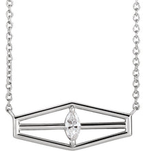 Load image into Gallery viewer, 14KT White Gold Marquise Diamond Geometric Necklace, 14KT White Gold Marquise Diamond Geometric Necklace - Legacy Saint Jewelry