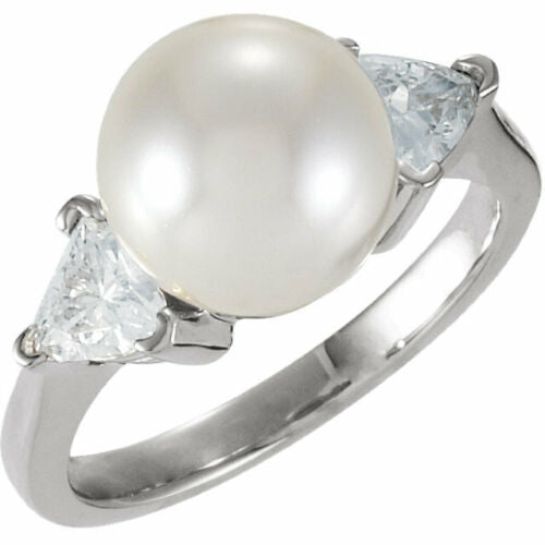 14KT White Gold Paspaley South Sea Pearl + Trillion Diamond Ring, 14KT White Gold Paspaley South Sea Pearl + Trillion Diamond Ring - Legacy Saint Jewelry