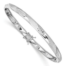 Load image into Gallery viewer, 14KT White Gold Polished + Satin Diamond-Cut Bangle Bracelet, 14KT White Gold Polished + Satin Diamond-Cut Bangle Bracelet - Legacy Saint Jewelry