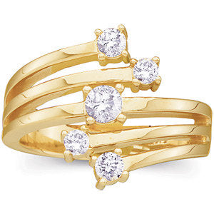 14KT Yellow Gold 5 Diamond Layered Right Hand Ring, 14KT Yellow Gold 5 Diamond Layered Right Hand Ring - Legacy Saint Jewelry