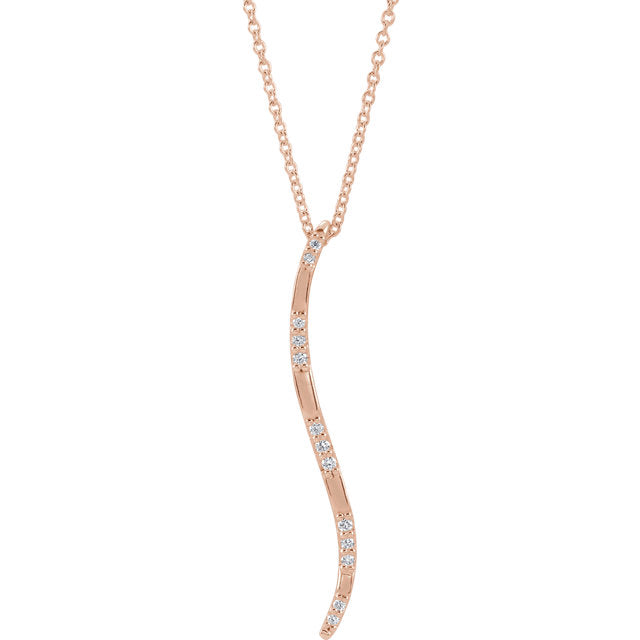 14KT Rose Gold Diamond Freeform Vertical Pendant Necklace, 14KT Rose Gold Diamond Freeform Vertical Pendant Necklace - Legacy Saint Jewelry
