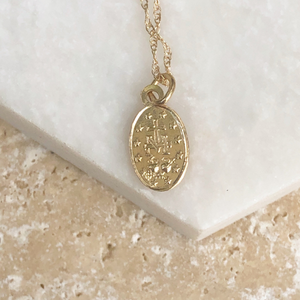 14KT Yellow Gold Polished Oval Miraculous Mini Medal 14mm, 14KT Yellow Gold Polished Oval Miraculous Mini Medal 14mm - Legacy Saint Jewelry