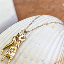 Load image into Gallery viewer, 14KT Yellow Gold 20mm Mano Cornuto + Corno Italian Horn Pendants Chain Necklace