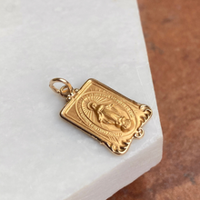 Load image into Gallery viewer, 14KT Yellow Gold Rectangular Miraculous Medal Pendant Charm, 14KT Yellow Gold Rectangular Miraculous Medal Pendant Charm - Legacy Saint Jewelry