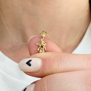 14KT Yellow Gold Small Guardian Angel Pendant Charm