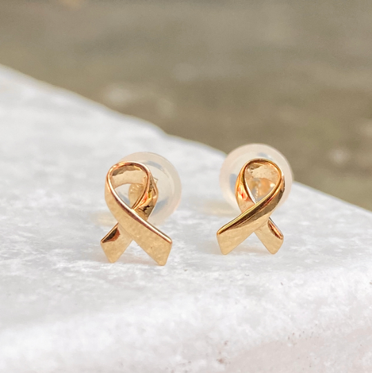 14KT Yellow Gold Mini Awareness Ribbon Stud Earrings
