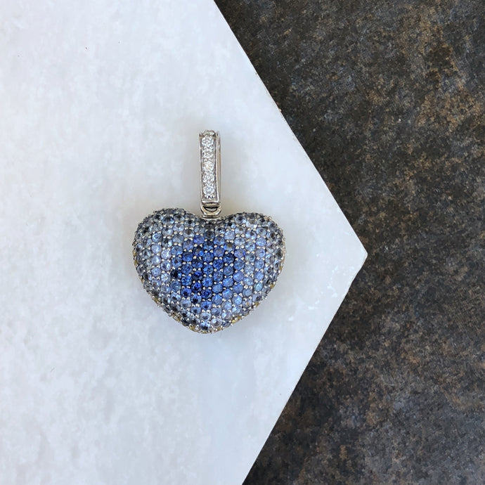 14KT White Gold Pave Diamond, Pave Blue + Yellow Sapphire Reversible Heart Pendant, 14KT White Gold Pave Diamond, Pave Blue + Yellow Sapphire Reversible Heart Pendant - Legacy Saint Jewelry