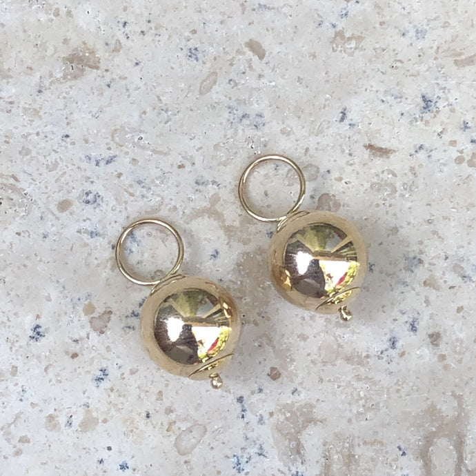 14KT Yellow Gold Polished Round Ball Earring Charms, 14KT Yellow Gold Polished Round Ball Earring Charms - Legacy Saint Jewelry