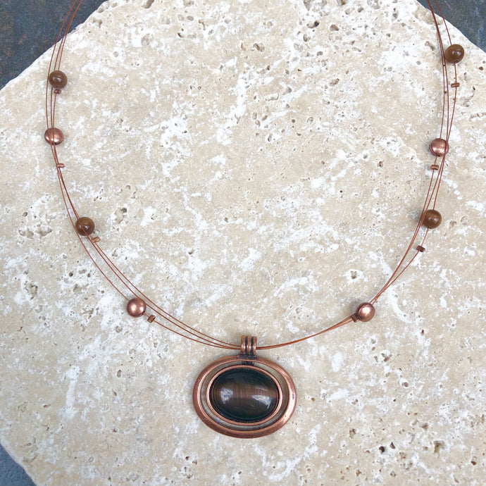 Estate 3-Strand Copper Necklace with Cat's Eye Pendant, Estate 3-Strand Copper Necklace with Cat's Eye Pendant - Legacy Saint Jewelry