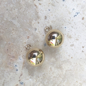 14KT Yellow Gold Ball Earring Charms, 14KT Yellow Gold Ball Earring Charms - Legacy Saint Jewelry