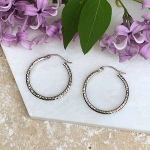10KT White Gold Diamond-Cut Hoop Earrings, 10KT White Gold Diamond-Cut Hoop Earrings - Legacy Saint Jewelry