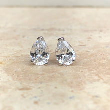 Load image into Gallery viewer, 14KT White Gold Pear Shape CZ Stud Post Earrings, 14KT White Gold Pear Shape CZ Stud Post Earrings - Legacy Saint Jewelry