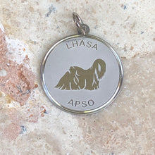 Load image into Gallery viewer, Sterling Silver Lhasa Apso Pendant Charm Satin Disc, Sterling Silver Lhasa Apso Pendant Charm Satin Disc - Legacy Saint Jewelry