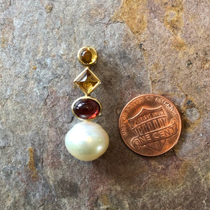 14KT Yellow Gold Garnet, Citrine + Paspaley South Sea Pearl Pendant Slide, 14KT Yellow Gold Garnet, Citrine + Paspaley South Sea Pearl Pendant Slide - Legacy Saint Jewelry