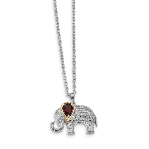 Sterling Silver + 14KT Yellow Gold Diamond + Ruby Elephant Necklace, Sterling Silver + 14KT Yellow Gold Diamond + Ruby Elephant Necklace - Legacy Saint Jewelry