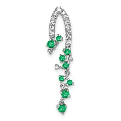 14KT White Gold Pave Diamond + Emerald Pendant, 14KT White Gold Pave Diamond + Emerald Pendant - Legacy Saint Jewelry